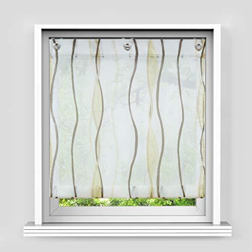 HongYa Raffrollo mit Wellen Druck Transparenter Voile Raffgardine Vorhang mit Hakenösen H/B 140/100 cm Creme Braun