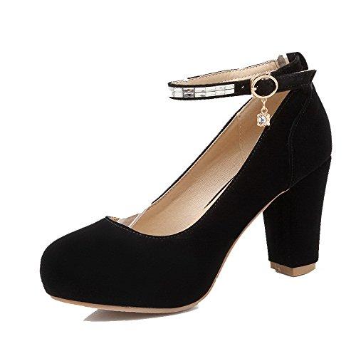 Nobuk Bombas Ao Dedo Colocado Fivela Calcanhar Redor Sapatos Agoolar Do Mulheres Do Pé Pretos Alta axq1U
