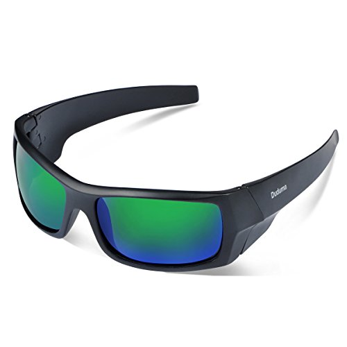 Duduma Gafas de Sol Deportivas Polarizadas Para Hombre Perfectas Para Esquiar Golf Correr Ciclismo TR601 Súper Liviana Para Hombre y Para Mujer (139 marco mate negro con lente verde)