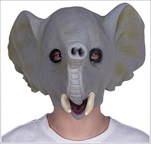 JACKII Máscara Elefante Máscara de látex Carnaval de Halloween Mascarada Animal Lindo Adulto Casco