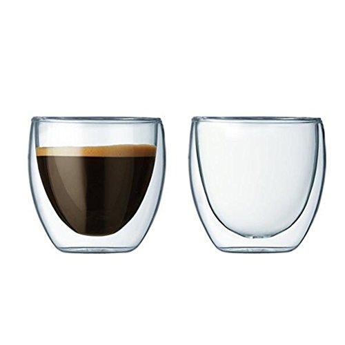 Ammon Lowen Verre à café Double-Paroi 2 Verre Borosilicate Transparent Pour thé,Lait,Cappuccino, Jus,15cl