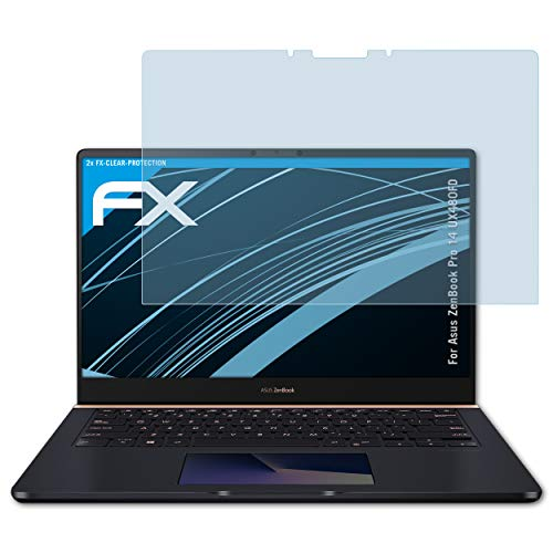 atFolix Schutzfolie kompatibel mit Asus ZenBook Pro 14 UX480FD Folie, ultraklare FX Bildschirmschutzfolie (2X)