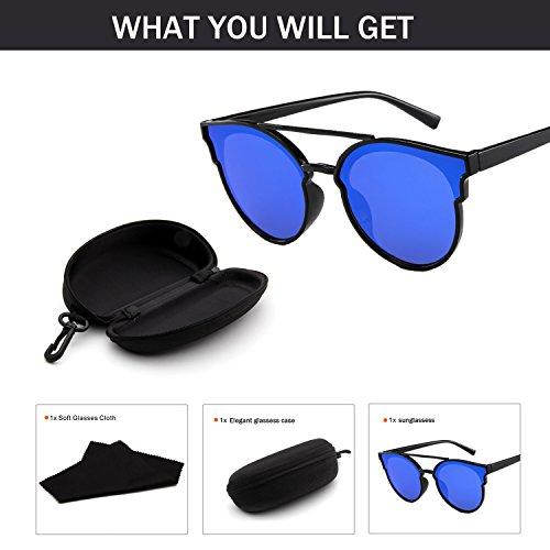 Yiph-Sunglass Sonnenbrillen Mode Katzenauge gespiegelt Flache Linsen Street Fashion Kunststoff Rahmen Frauen Sonnenbrille 5147 Zubehör (Color : NO.6)