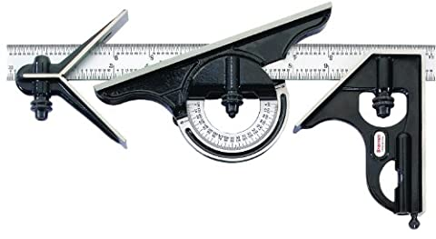 Starrett 434M-300 Forged, Hardened Square, Centre And Reversible Protractor Heads With Blade Combination Set, Smooth Black Enamel Finish, 300 mm Size