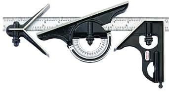 Starrett 434M-300 Équerre combinée 300 mm Avec rapporteur d'angle à niveau à bulle, tête droite et tête à centrer