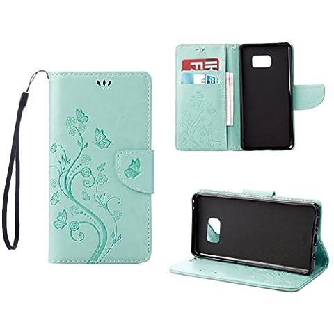 RanRou Galaxy Note 7 Funda Leather Funda [Butterfly Flower Pattern],Samsung Galaxy Note 7 Funda Flip PU Leather Wallet Card Slot Stand Funda Cover For Samsung Galaxy Note 7 Funda -green