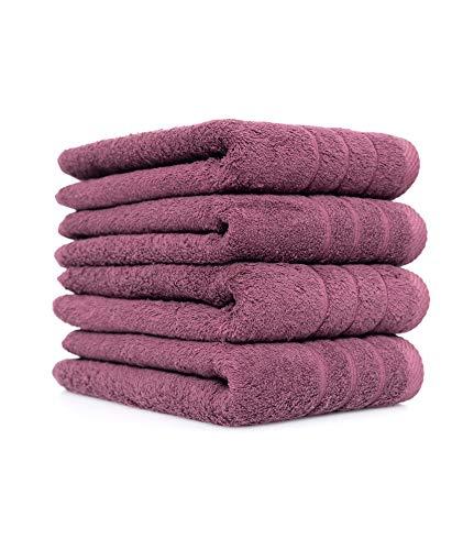 Basatex Handtuch Set 4er Pack in 6 Farben 4 Handtücher 50x100 cm 600g/m² Farbe Aubergine - Auberginen-handtuch-set