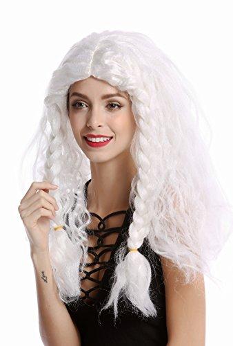 WIG ME UP - 91154-ZA68/ZA62 Perücke Damen Herren Karneval Halloween lang weiß geflochtene Dicke Zöpfe Eisprinzessin Alter Wikinger Barbar