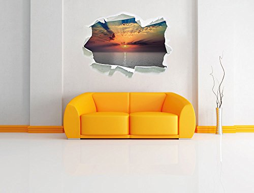 bezaubernder Sonnenuntergang über dem Meer schwarz/weiß, Papier 3D-Wandsticker Wanddekoration 3D-Wandaufkleber Wandtattoo