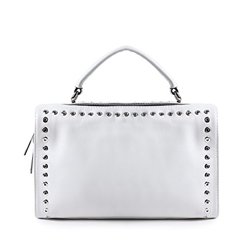 Real Genuine Leather Handbags for Women Black Fashion Rivet Bags Trendy  Designer Zip Purse One Shoulder Ladies Bag. by leashell d5ed3f5269
