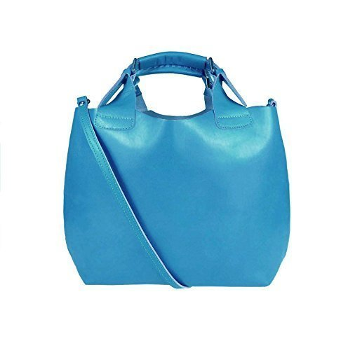 OBC Made in Italy 2 in 1 echt Leder Beuteltasche Shopper DIN-A4 Henkeltasche Tasche City Bag Schultertasche Umhängetasche Daisy16 35x30x15 cm (BxHxT) (Hellblau) (Echt Leder Gepäck Tasche)