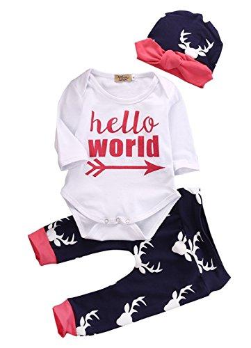 Angel ZYJ 2018 Frühlingszeit Neugeborene Jungen Mädchen Kleidung Briefe Tops T-Shirt Hosen Leggings mit Hut Cap (E, 0-6M)