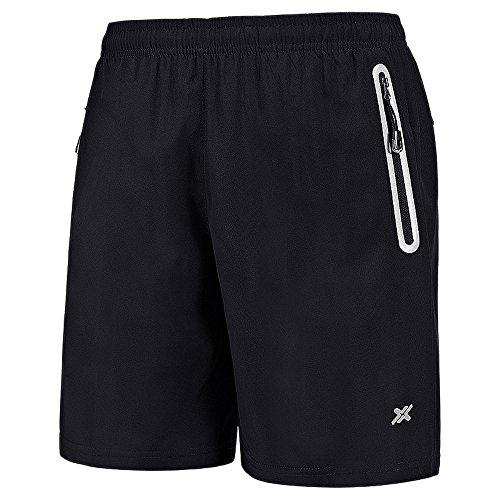 CLOUSPO Sporthose kurz Herren schwarz blau weich schnell trockend mit Reißverschlusstasche Sport Shorts(EU L/Tag 5XL, Schwarz 01)(Verpackung/MEHRWEG)