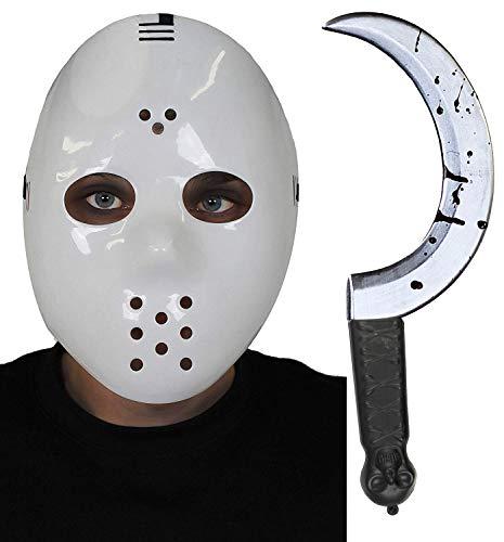 ILOVEFANCYDRESS Hockey Maske MIT BLUTIGER Sichel = WEIßE HARTPLASTIK Maske MIT BEFESTIGUNGS Gummi und Augen LÖCHERN = SUPER FÜR Halloween ODER Fasching und Karneval Masken VERKLEIDUNGS ()