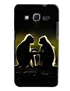 Blue Throat Two Monkey Chatting Hard Plastic Printed Back Cover/Case For Samsung Galaxy Core Prime