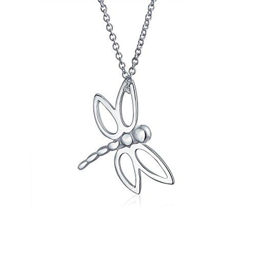 Tier-symbolik (Bling Jewelry Offenen Flügel Dragonfly Anhänger Sterling Silber Halskette 16 Zoll)