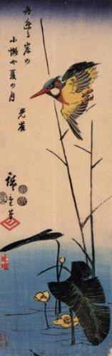 sheet-of-21-gloss-stickers-japanese-art-utagawa-hiroshige-kingfisher-over-yellow-blooming-waterplant
