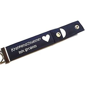 Krankenschwester mit großem Herz - Schlüsselanhänger mit Einkaufschip, Geschenk für Krankenschwester Pflegepersonal, kleines Dankeschön Geschenk, Schlüsselband mit Chip