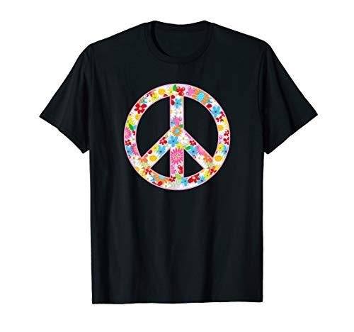 Hippie Kostüm Cute Frauen - Peace Love 60er 70er Flower Power Hippie Kostüm Jahre Gift T-Shirt