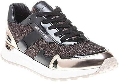 Zapatillas con Purpurina, Color Fucsia, con Inserciones de Piel y Pintura Negra Rosa Size: 6