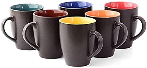 Saavre Ceramic Cups (Multicolour) - Set of 6