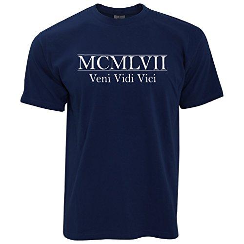 MCMLVII Veni Vidi Vici Geburtsjahr 1957 zum 60. Geburtstag Geschenk-Geschenk-Andenken In der römischen Zahlen aus Herren T-Shirt Navy Blue
