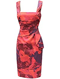 ab0a8343f67 DP123 Karen Millen Feminine Print Bodycon Dress Red Purple Multi Womens UK  Size 6