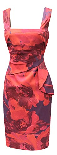DP123-Karen-Millen-Feminine-Print-Bodycon-Dress-Red-Purple-Multi-Womens-UK-Size-6