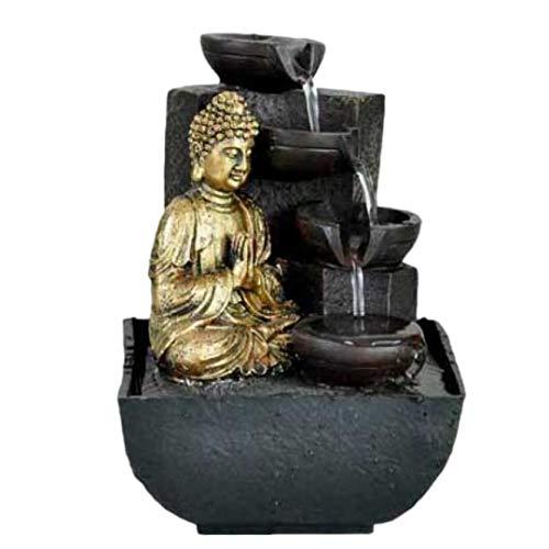 KERALA Fuente de Agua Interior con Buda meditando en Dorado, con Cascada de Piedra. con Bomba eléctrica. Tamaño 18X13,30 X13,30 cm
