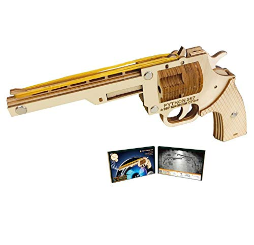 HWQ DIY 3D Puzzle, 3D Puzzle Modello di Legno, Pistole Revolver-Scatola di Colore, Giocattoli Fatti a Mano, Regali creativi