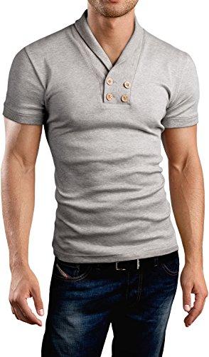 Grin&Bear Slim Fit Schal V Kragen Shirt, BH115 kurzarm/grau meliert
