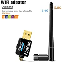 Wifi Dongle - NeKan 2.4G/150Mbps +5G/433Mbps Portable Dual Band Antenna Usb Wireless Wifi Adapter Network Wlan Card for Windows XP/Vista/7/8/10 (32/64bits) MAC OS