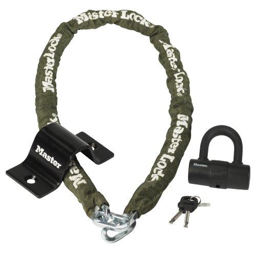 Master Lock 8273EURDAT - Set di sicurezza: mini-lucchetto con catena e ancoraggio