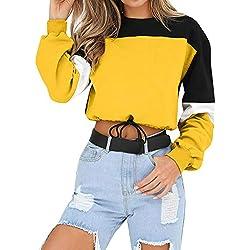 ❤️ Sudaderas Mujer sin Capucha,Suéter de Manga Larga Colorblock de Mujer Camis Absolute
