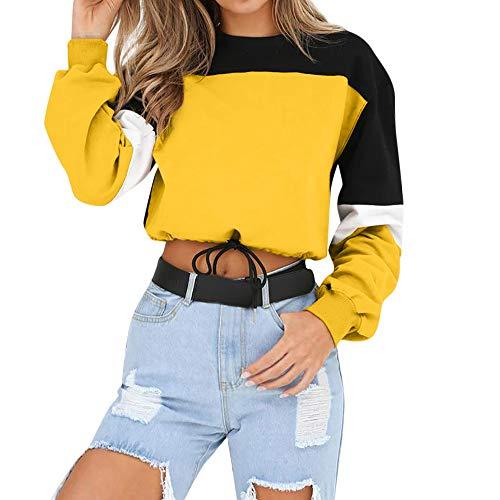 Felpe tumblr ragazza, feixiang felpa donna eleganti manica lunga da donna felpa con cappuccio e pullover, abbinamento di colore, sweatshirt camicia maglia donna tops camicetta maglietta (giallo, xl)