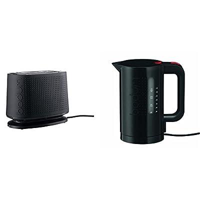 Bodum 10709-01-3 Bistro Grille-Pain Électrique Plastique Noir 26,5 x 15,5 x 21,5 cm + Bouilloire électrique 1,0 L noire