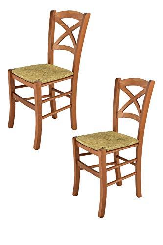 Tommychairs - Juego de 2 sillas clásicas Cross para Cocina, Bar y Sala de Comedor con Robusta Estructura de Madera...