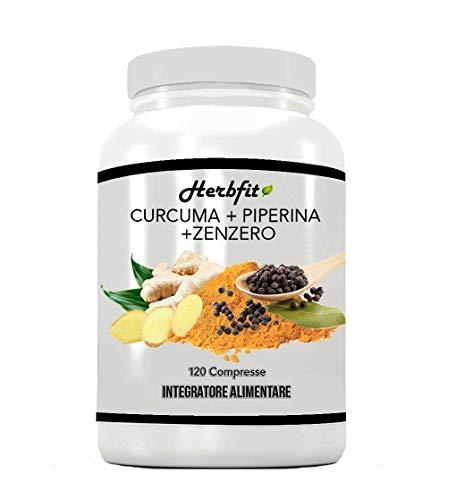 HERBFIT CURCUMA+PIPERINA+ZENZERO | 120 cps. Naturali Di Puro Estratto Di Curcumina (320 Mg), Piperina (20 Mg) Al 95% di Concentrazione, Zenzero R.ma | Antinfiammatorio-Antidolorifico-Antiossidante