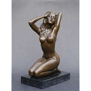 Antike Fundgrube Bronze Figur Akt einer Frau auf edlem Marmorsockel