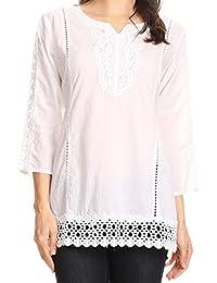 Sakkas Chloe 3/4 Sleeve Crochet Dentelle Split Neck Top avec ceinture