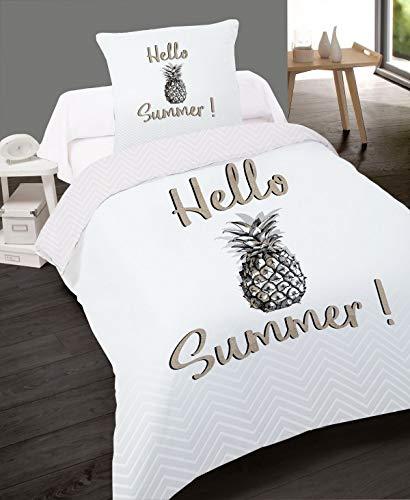 Alpes Blanc Housse de Couette Coton 140 x 200 Hello Summer + taie 65 x 65