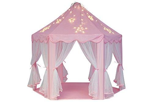 Schramm® Prinzessinnenzelt in 3 Farben Prinzessin Zelt wählbar mit LED Sternen Beleuchtung Kinder Spielzelt auch als Bällezelt Bälle Kinder Zelte Spielschloß , Farbe:Rosa mit Beleuchtung