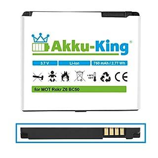 Akku-King Battery for Motorola Krzr K1, Rizr Z3, Rokr Z6, SLVR L2, SLVR L6, Aura - replaces BC50, CFNN7007 - Li-Ion