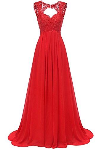 Carnivalprom Damen Chiffon Abendkleider Für Hochzeit Elegant Spitze Brautjungfer Kleider Lang Ballkleider(Rot,38)
