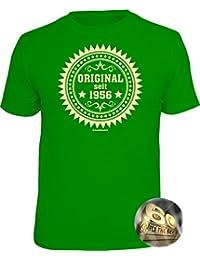 Geschenke-Set Shirt + Button: ORIGINAL 1956, ALLE FARBEN für Sie herstellbar zum 60. Geburtstag, Tshirt Geburtstagsgeschenk Alter 60 Jahre S M L XL XXL 3XL 4XL 5XL +Premium Button als Geschenk Set