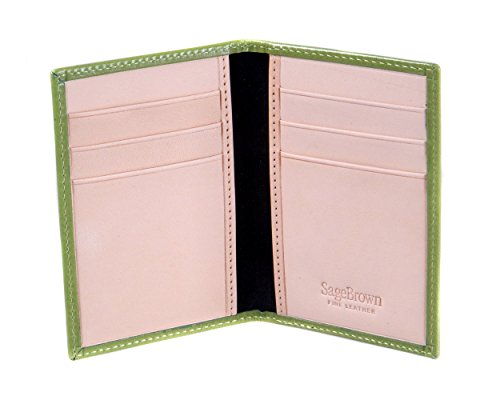 SageBrown Lime With Ivory Slim Six Credit Card Case -