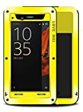 Waterproof Case for Sony Xperia XZ (5.2 inch), LOVE MEI Brand Aluminum Material with Tempered Glass Screen Cover YellowTwo-Years Warranty