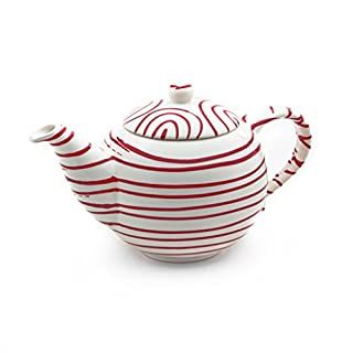 Gmundner Keramik Manufaktur 0182KTGL08 rotgeflammt Teekanne glatt, 0,5L