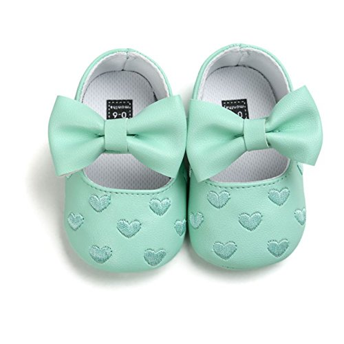 Únicos Prewalker Verde Brightup Sapatos derrapante Anti Amor Coração Doce De Bowknot Girl Macio Couro Baby qv6w6d1t