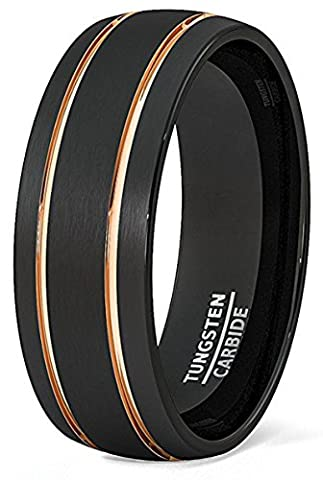 Black Plated Tungsten Carbide Double Rose Gold Lines Grooved Men's Comfit Fit Wedding Band Ring(V1/2)